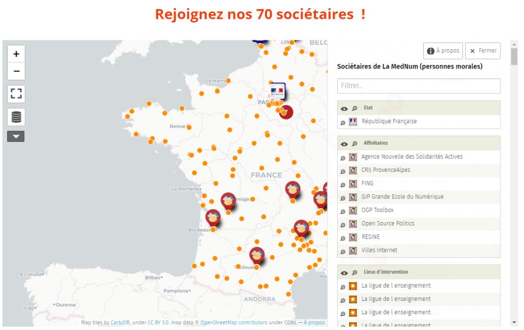Carte de France des sociétaires de la Mednum