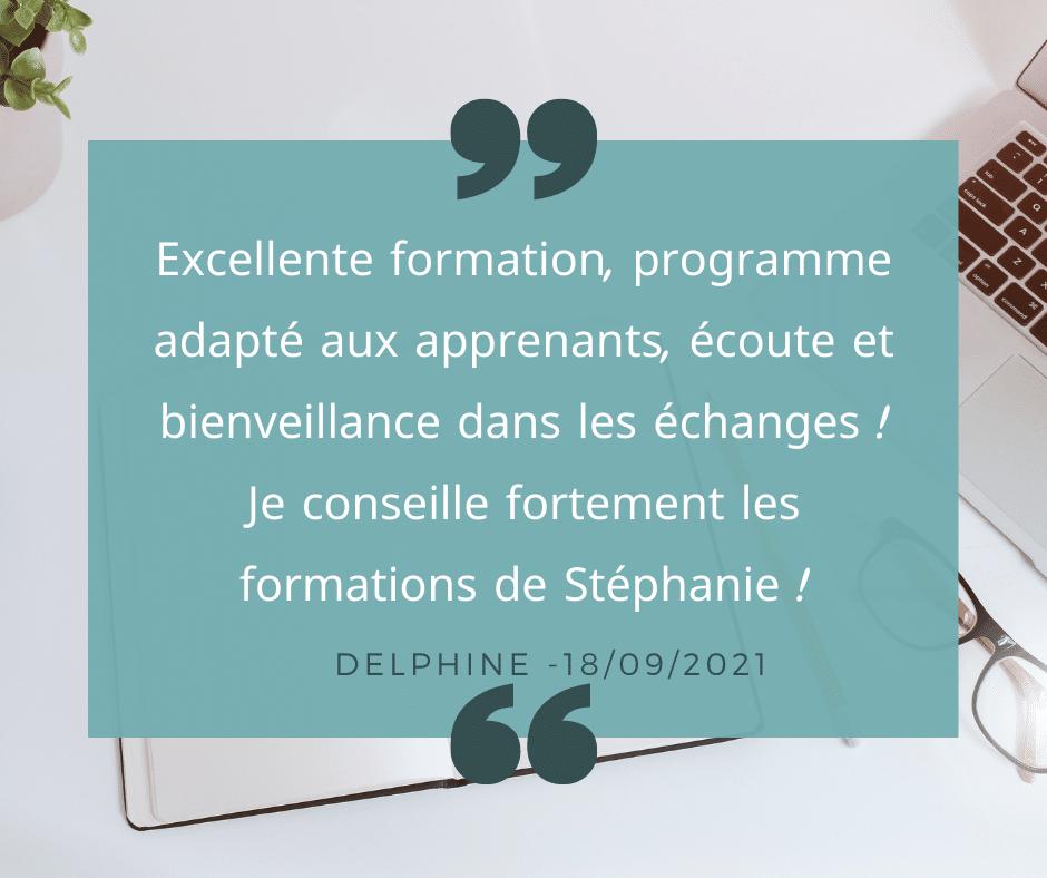 Avis apprenant Stéphanie DUMAS Formation informatique en Vendée